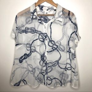 CAbi sheer white and navy rope button up size L